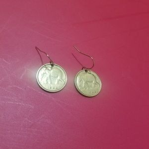 Elephant coin earrings with 14k gold plated hooks